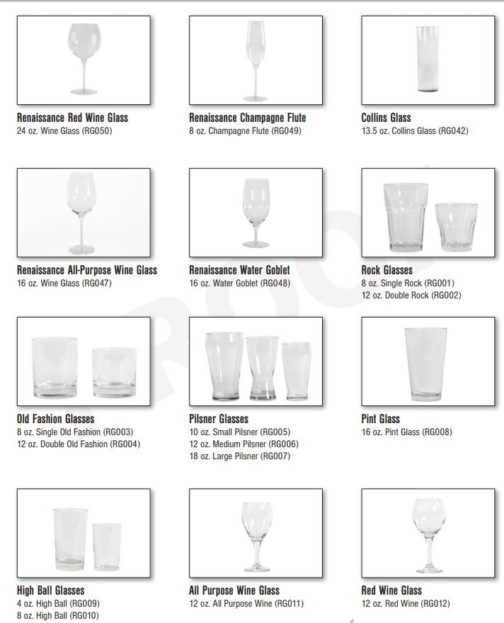 Glasswares, Catering Equipment Gallery