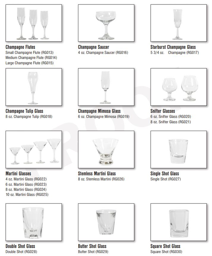 Glassware pictures, Catering Equipment Gallery